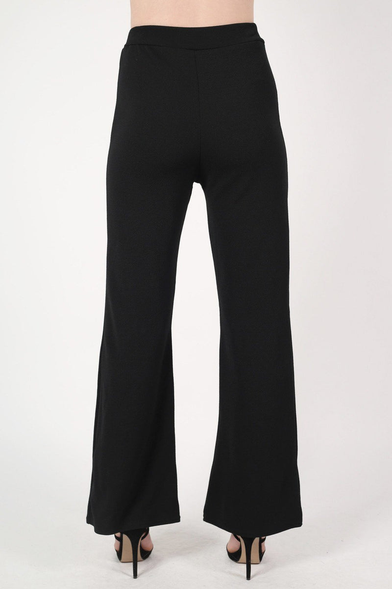 Textured Flared Trousers in Black 4