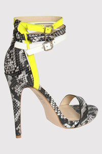 Multi Ankle Strap High Heel Snake Print Sandals in Grey 3