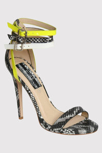 Multi Ankle Strap High Heel Snake Print Sandals in Grey 2