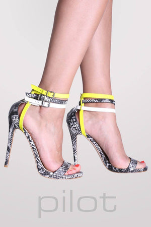 Multi Ankle Strap High Heel Snake Print Sandals in Grey 0