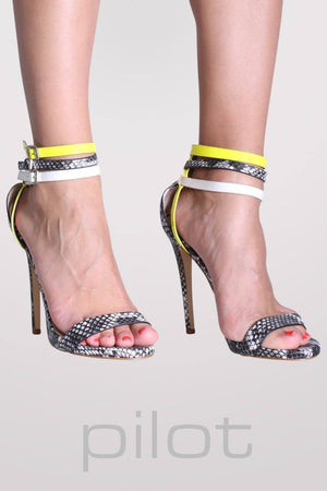 Multi Ankle Strap High Heel Snake Print Sandals in Grey 1