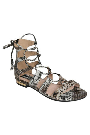 Lace Up Snake Print Flat Sandals in Black 2