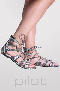 Lace Up Snake Print Flat Sandals in Black 1