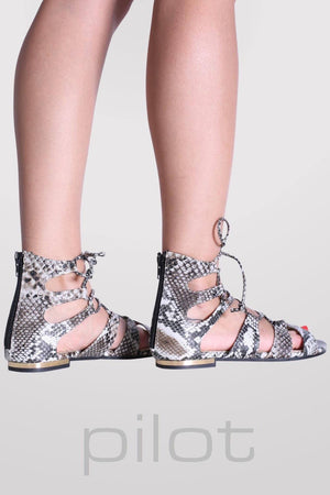 Lace Up Snake Print Flat Sandals in Black 3