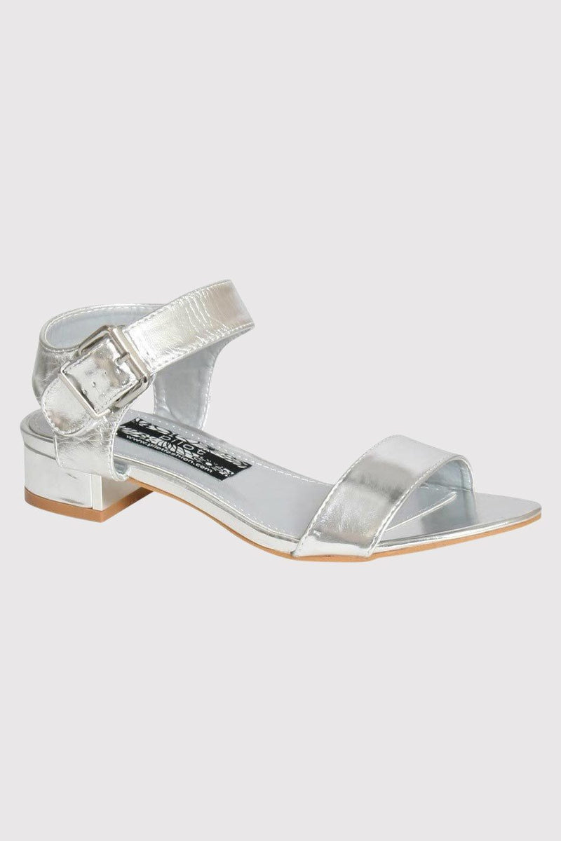 Low Block Heel Sandals in Silver FRONT