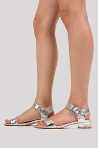 Cyndi Low Block Heel Sandals in Silver MODEL SIDE