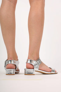 Cyndi Low Block Heel Sandals in Silver MODEL BACK