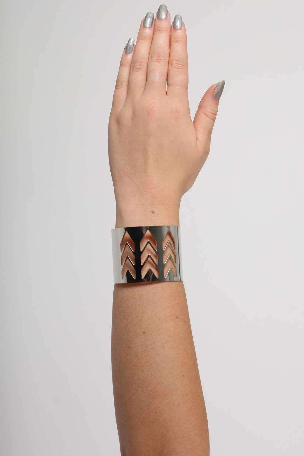 Chevron Cut Out Cuff Bracelet in Silver 0