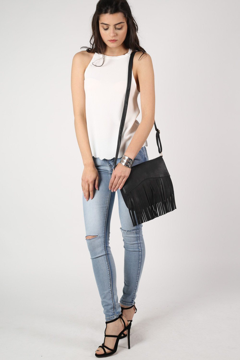 Cross Body Fringe Detail Bag in Black 0