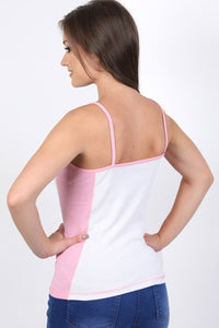 Activewear Panel Vest Top in White 1