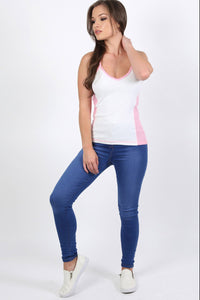 Activewear Panel Vest Top in White 2