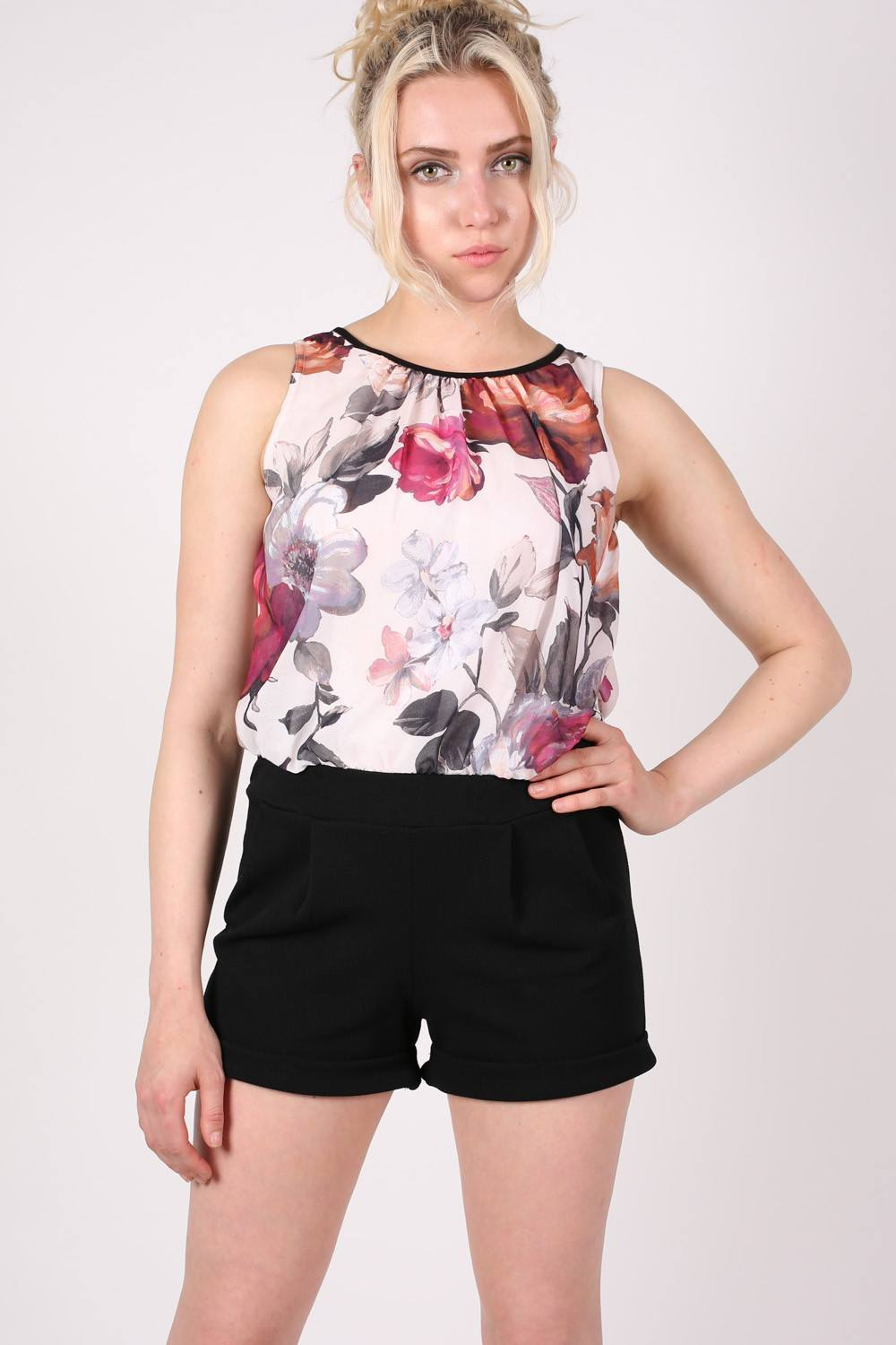 Floral Print Chiffon Playsuit MODEL FRONT