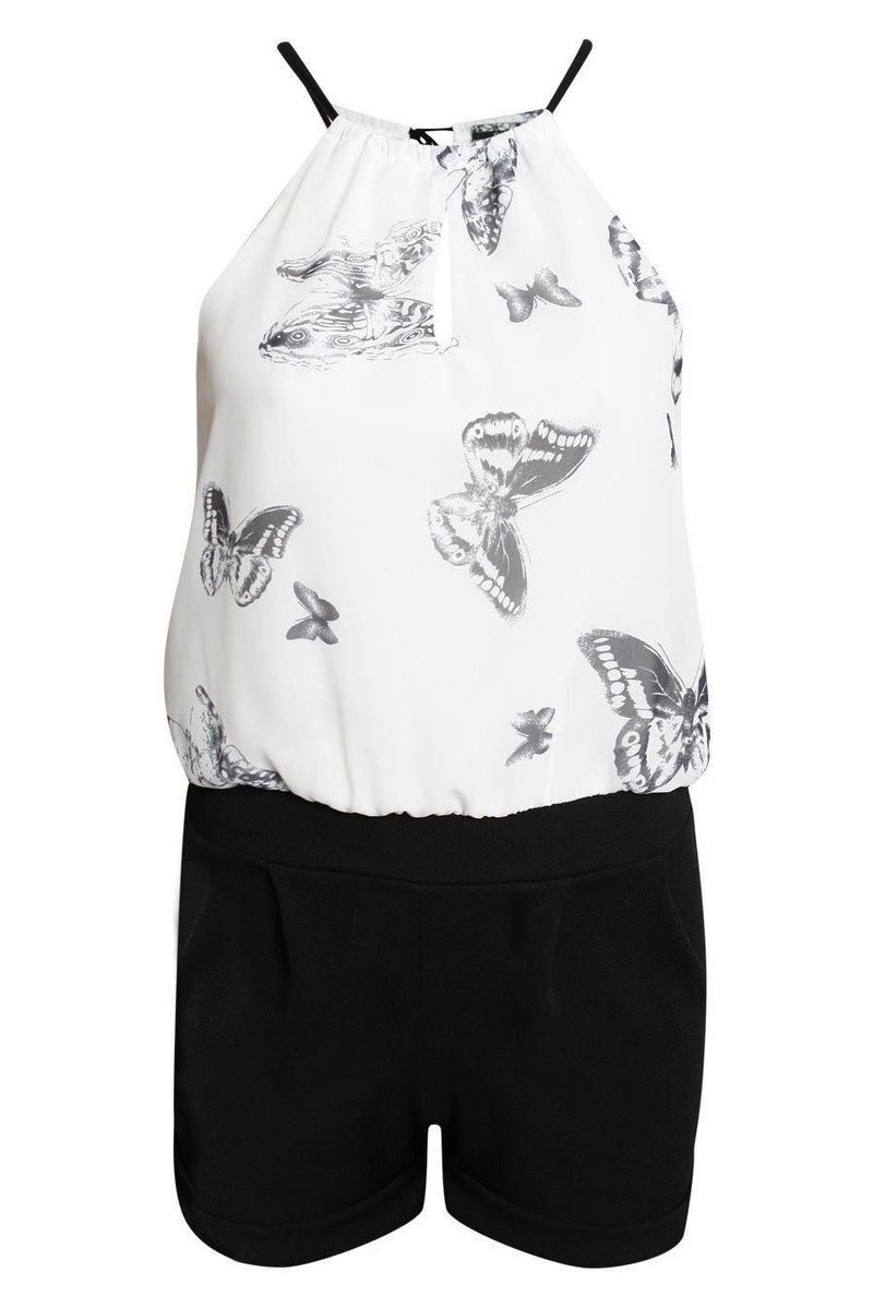 Butterfly Print Chiffon Playsuit in Black 2