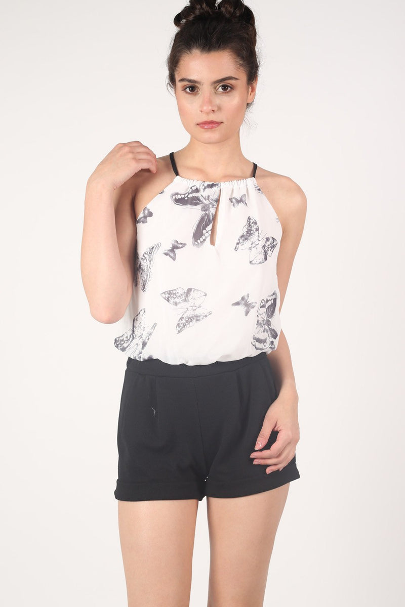 Butterfly Print Chiffon Playsuit in Black MODEL FRONT