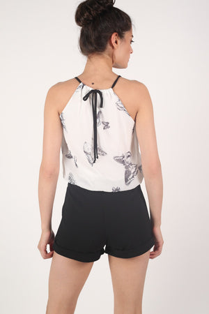Butterfly Print Chiffon Playsuit in Black MODEL BACK