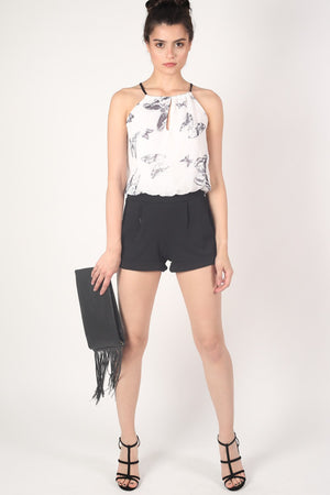 Butterfly Print Chiffon Playsuit in Black MODEL FRONT 2