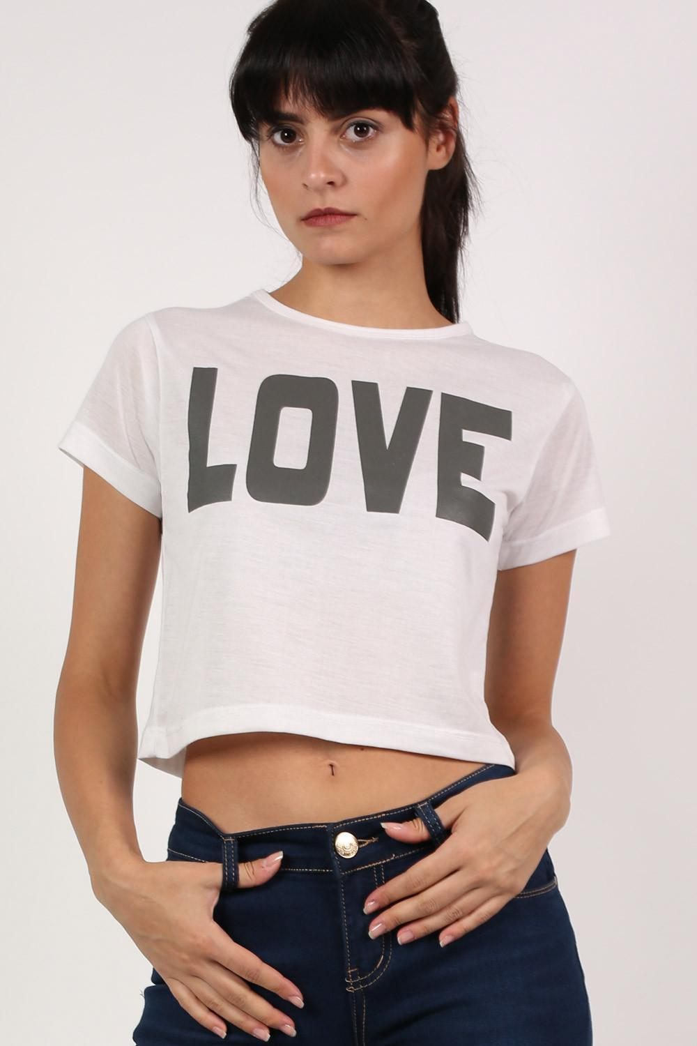 Love Print Cap Sleeve Crop Top in White 0