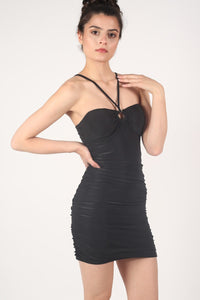 Ruched Side Strappy Bodycon Dress in Black 1
