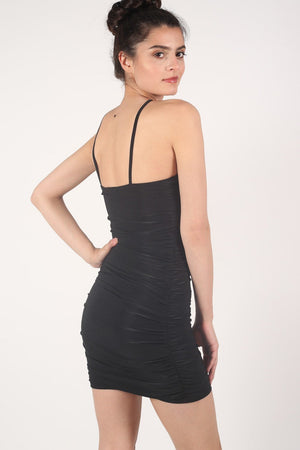 Ruched Side Strappy Bodycon Dress in Black 3