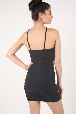 Ruched Side Strappy Bodycon Dress in Black 4