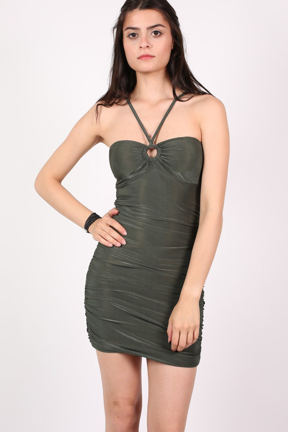 Ruched Side Strappy Bodycon Dress in Khaki Green 0