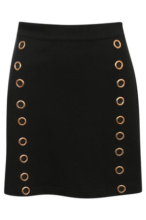A-Line Eyelet Detail Mini Skirt in Black 2