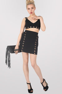 A-Line Eyelet Detail Mini Skirt in Black 0