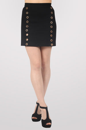 A-Line Eyelet Detail Mini Skirt in Black 1