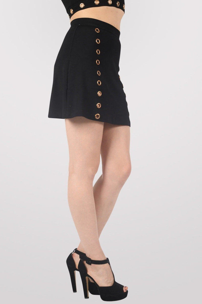 A-Line Eyelet Detail Mini Skirt in Black 3
