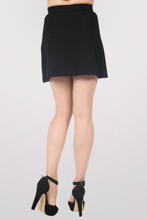 A-Line Eyelet Detail Mini Skirt in Black 4