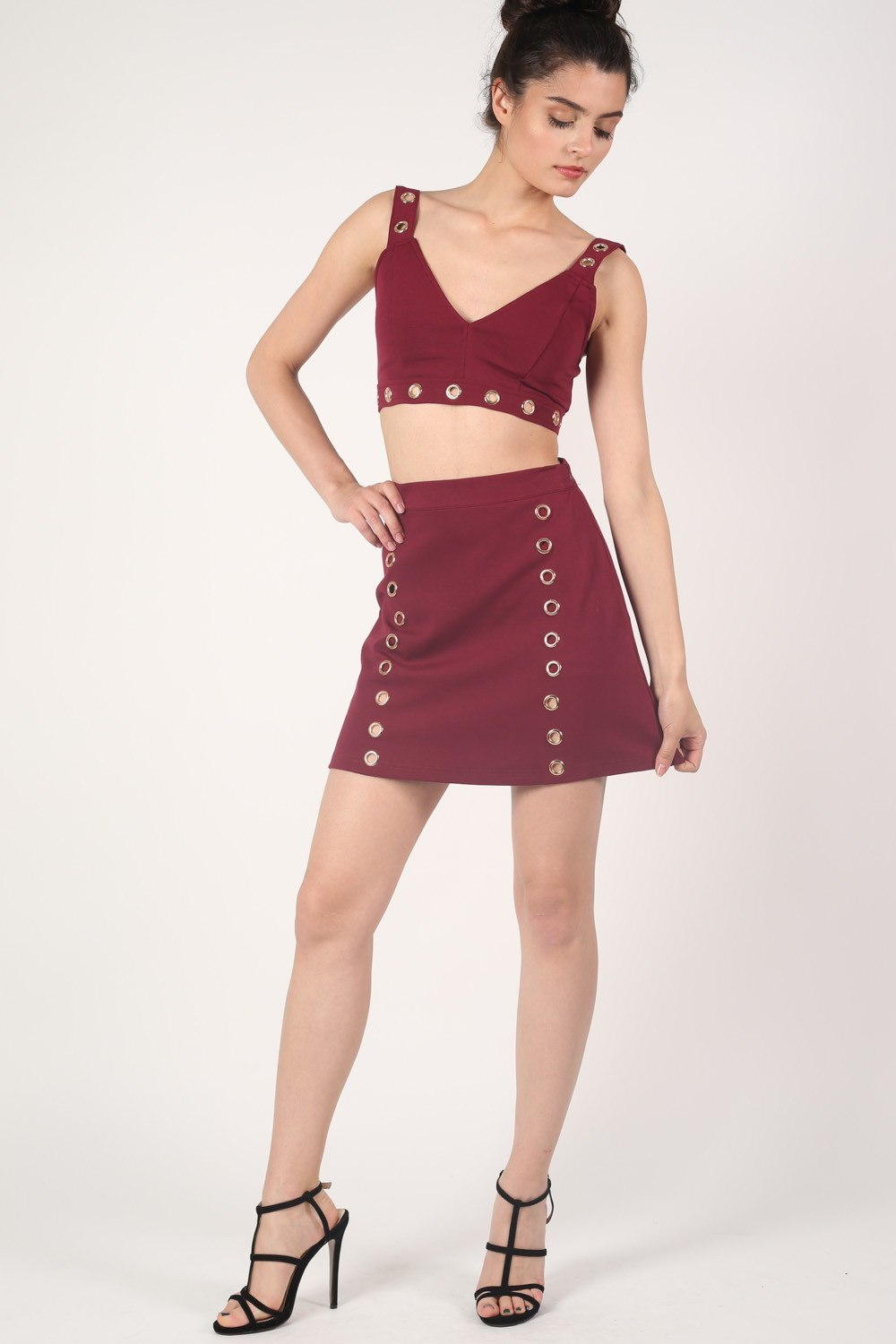 A-Line Eyelet Detail Mini Skirt in Wine Red MODEL FRONT