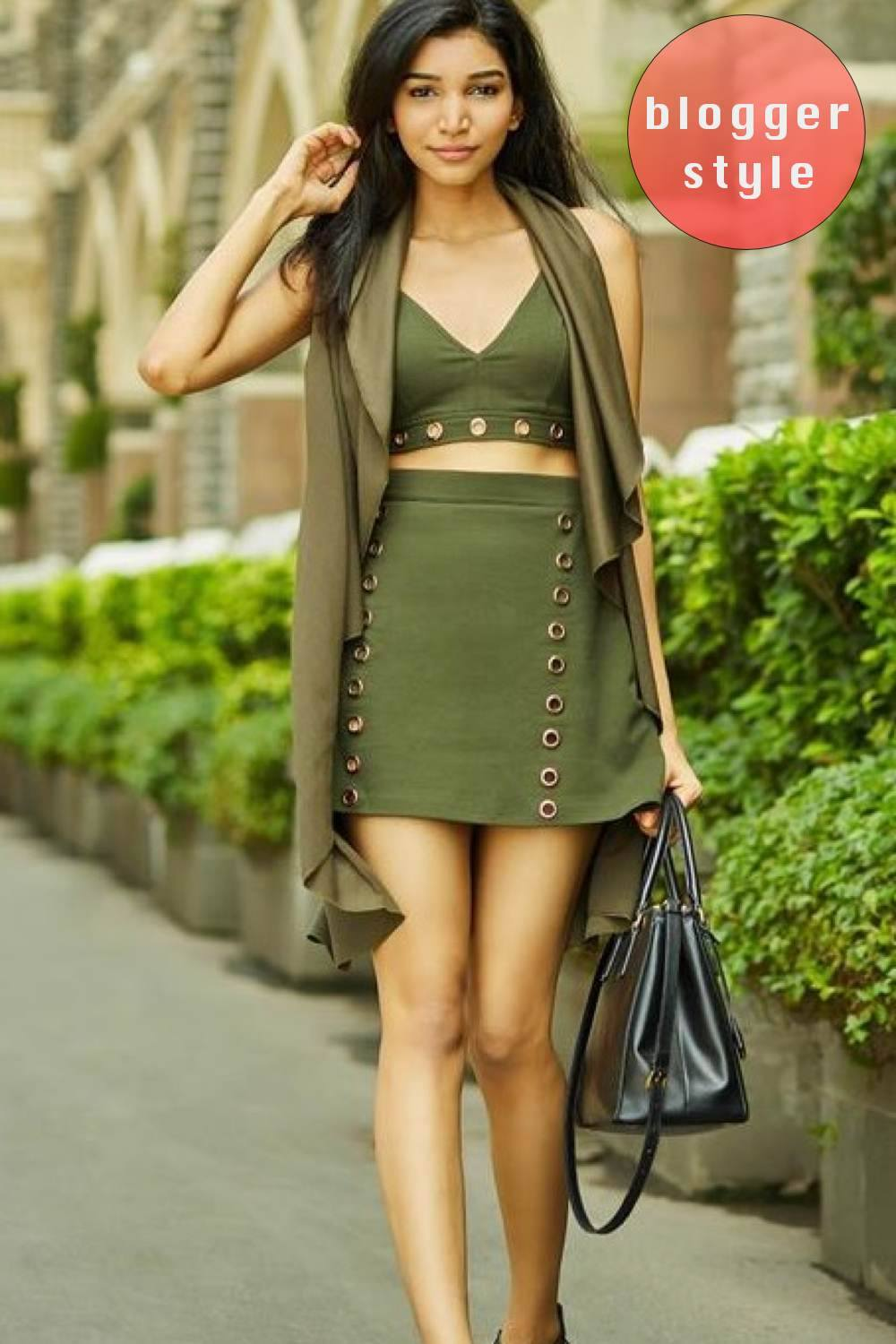 A-Line Eyelet Detail Mini Skirt in Khaki Green Blogger Front