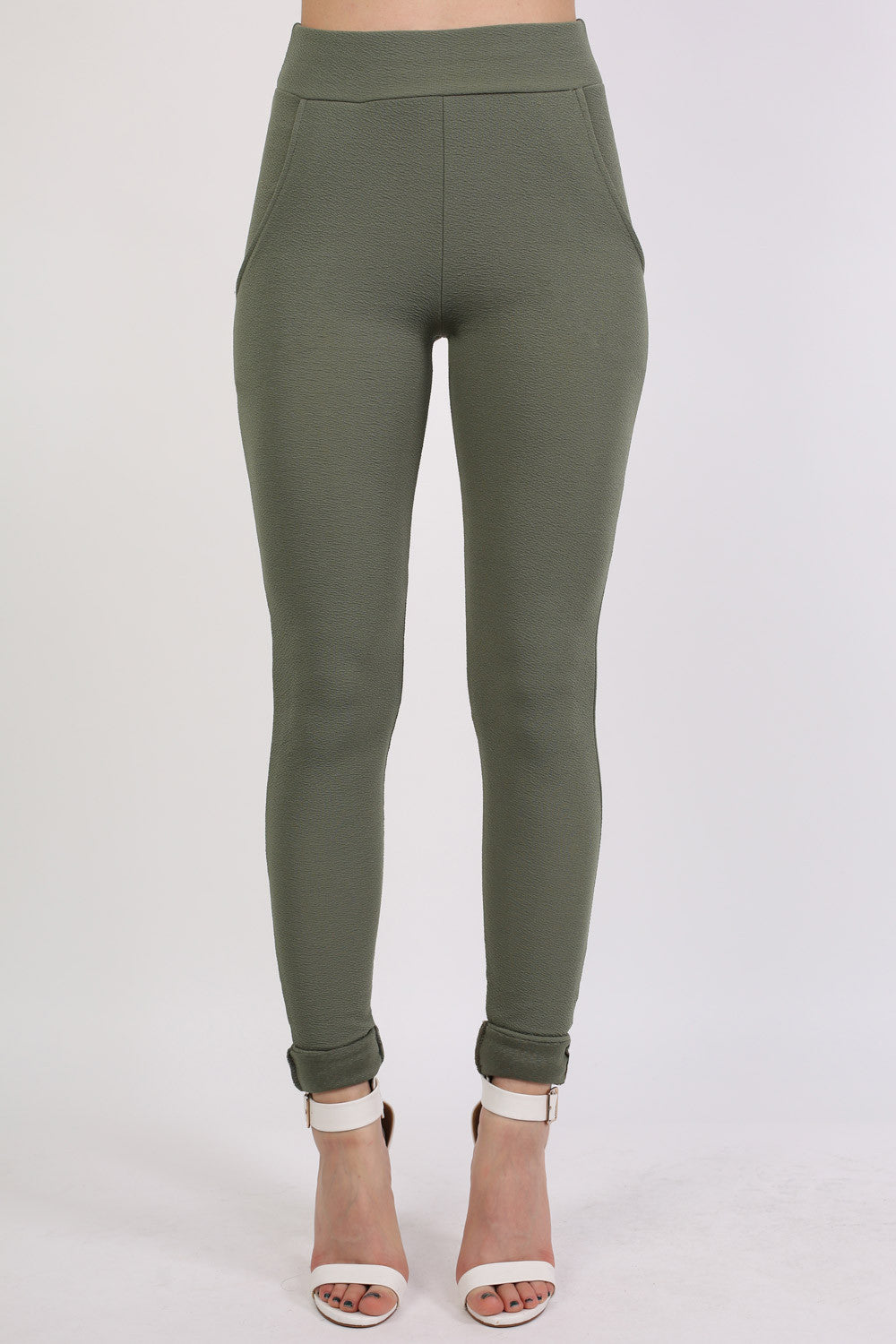 Textured Cigarette Trousers in Khaki Green 1