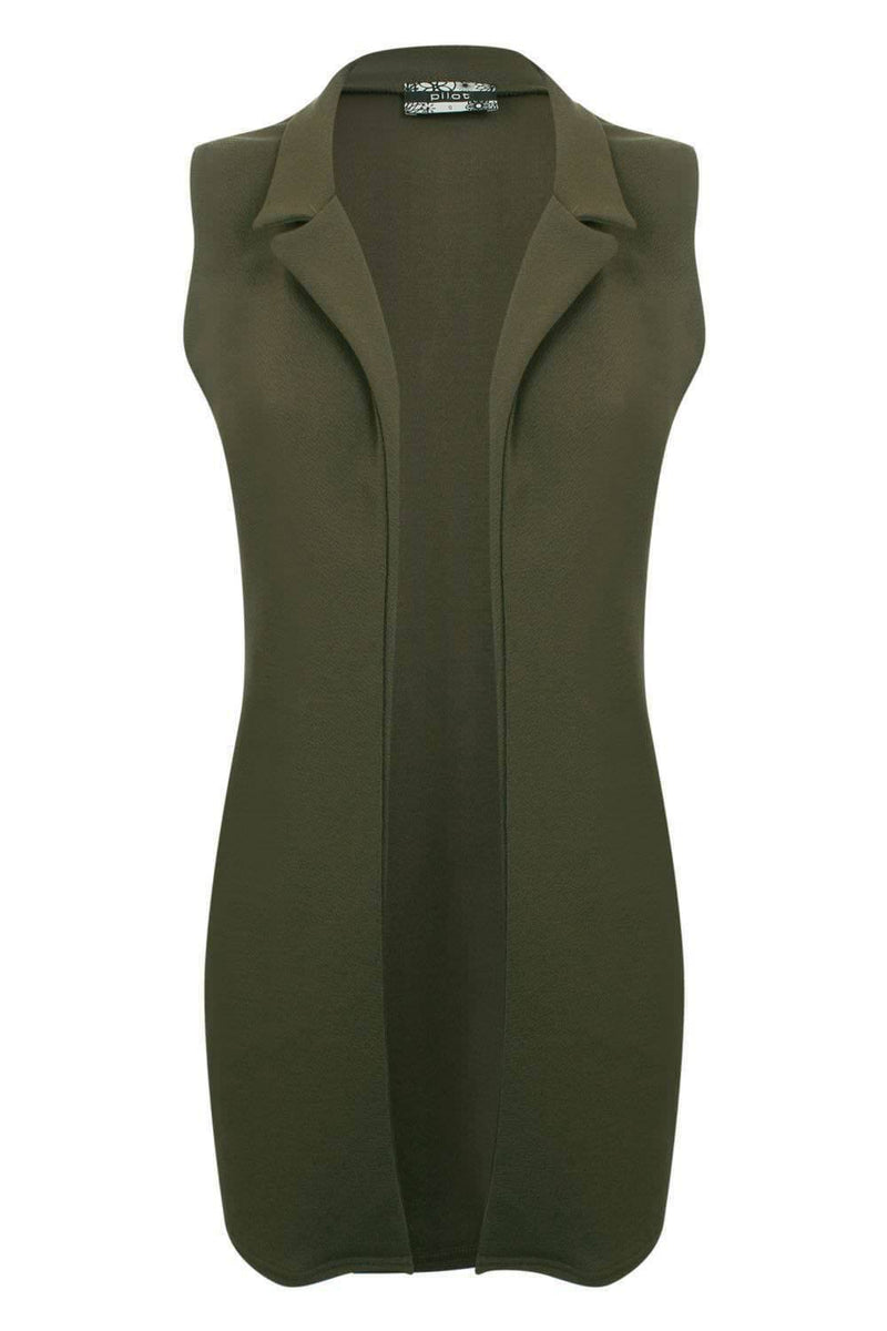 Textured Sleeveless Open Jacket in Khaki Green 2