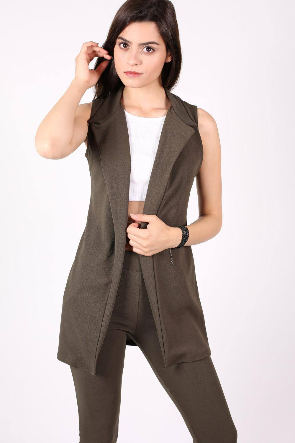 Textured Sleeveless Open Jacket in Khaki Green 0