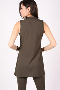 Textured Sleeveless Open Jacket in Khaki Green 1