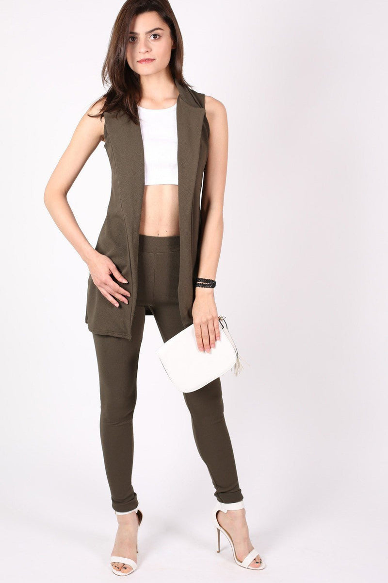 Textured Sleeveless Open Jacket in Khaki Green 3