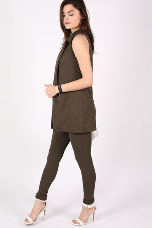 Textured Sleeveless Open Jacket in Khaki Green 4