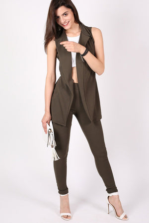 Textured Sleeveless Open Jacket in Khaki Green 5