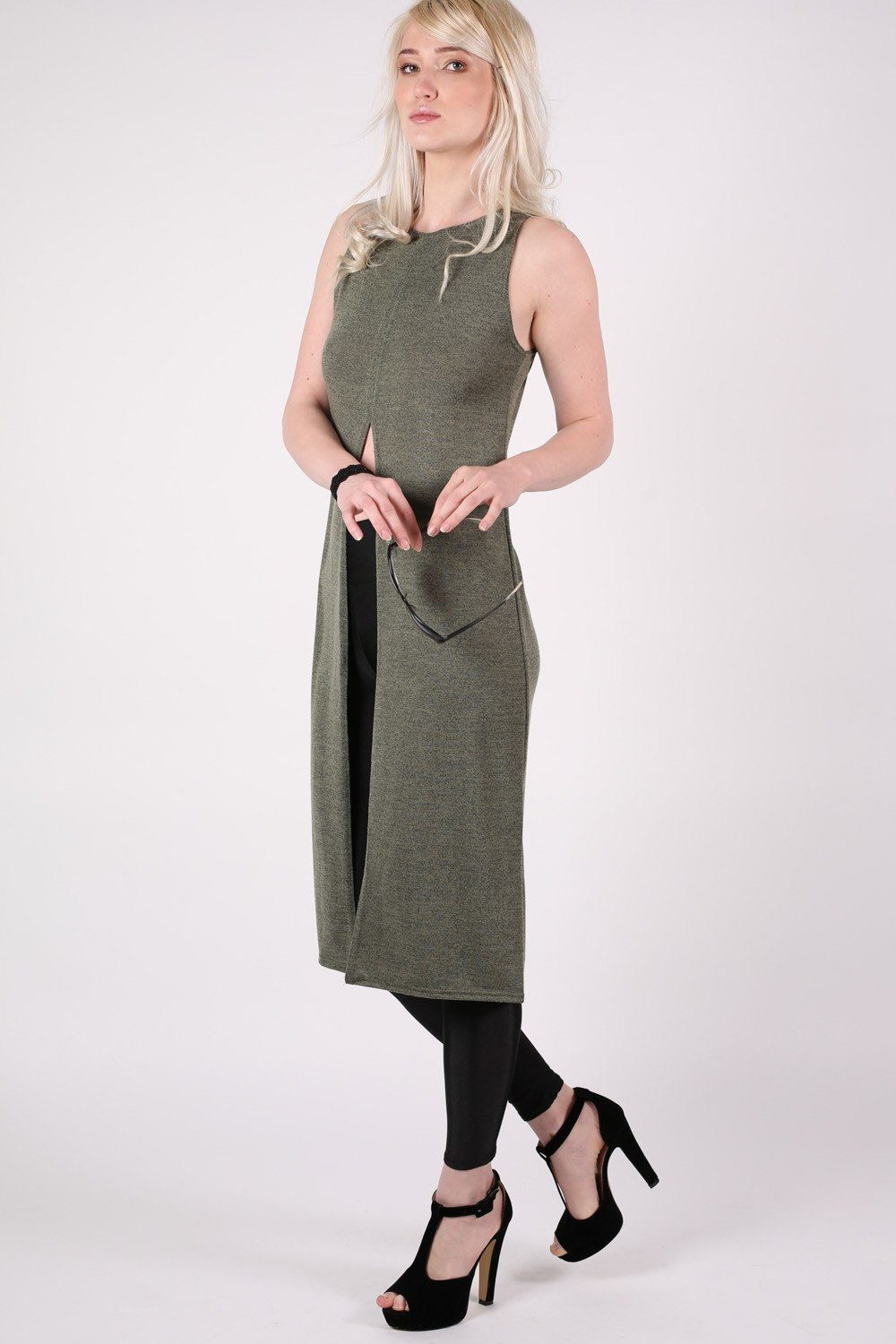 Long Sleeveless Split Front Knitted Tunic Top in Khaki Green 0