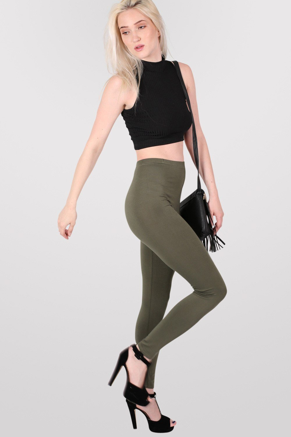 Plain Leggings in Khaki Green 0