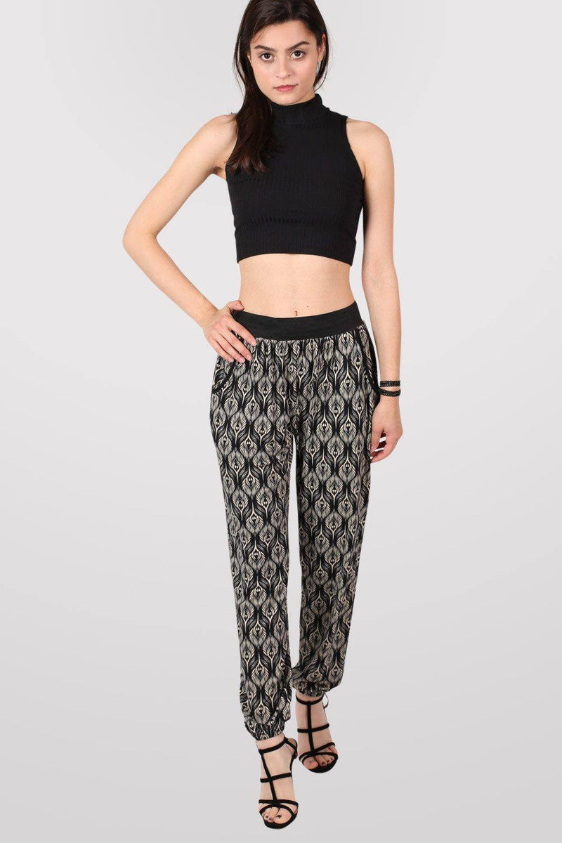 Peacock Baroque Print Jogger Trousers in Black 0