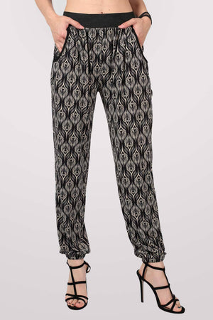 Peacock Baroque Print Jogger Trousers in Black 1