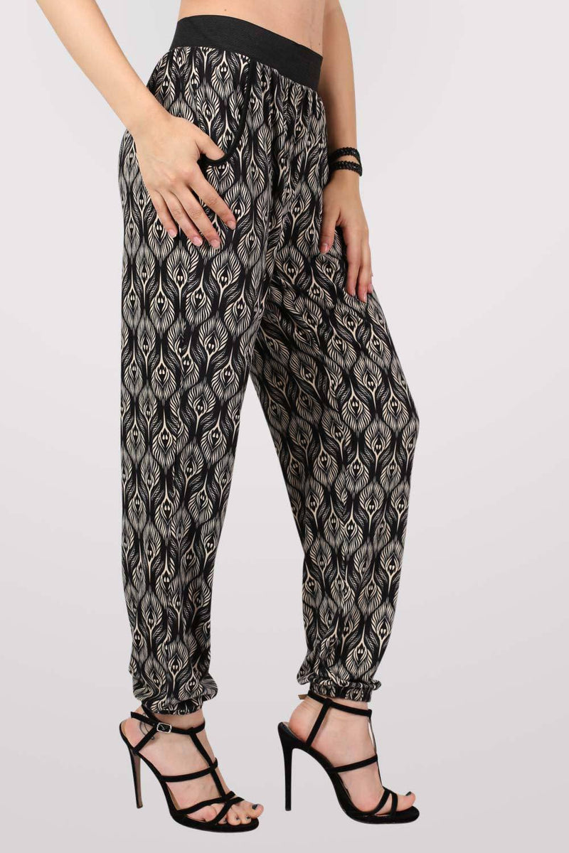 Peacock Baroque Print Jogger Trousers in Black 2