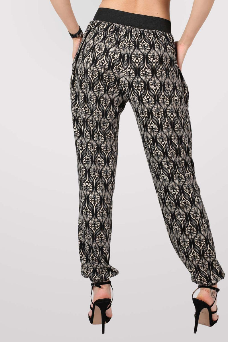 Peacock Baroque Print Jogger Trousers in Black 3