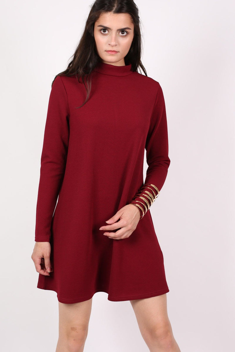 Turtle Neck Swing Dress in Claret Red 0