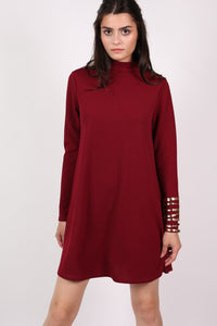 Turtle Neck Swing Dress in Claret Red 1