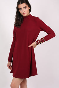 Turtle Neck Swing Dress in Claret Red 2