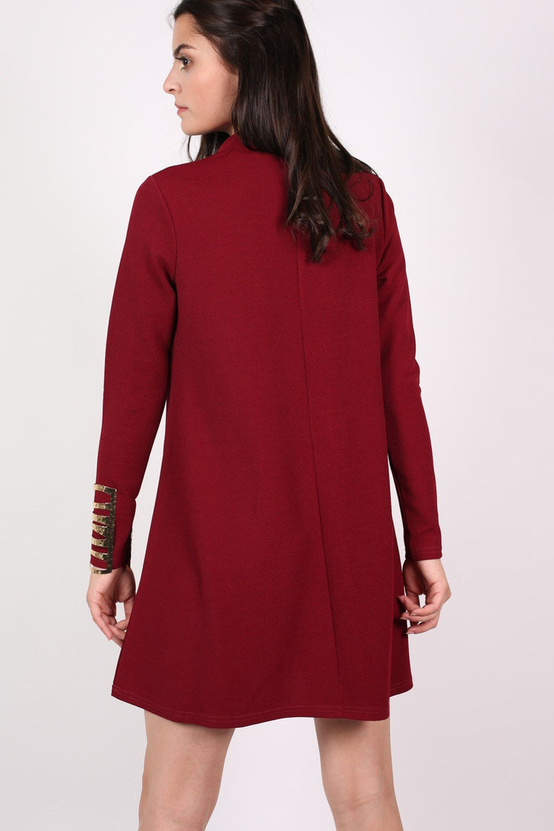 Turtle Neck Swing Dress in Claret Red 3