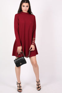Turtle Neck Swing Dress in Claret Red 4